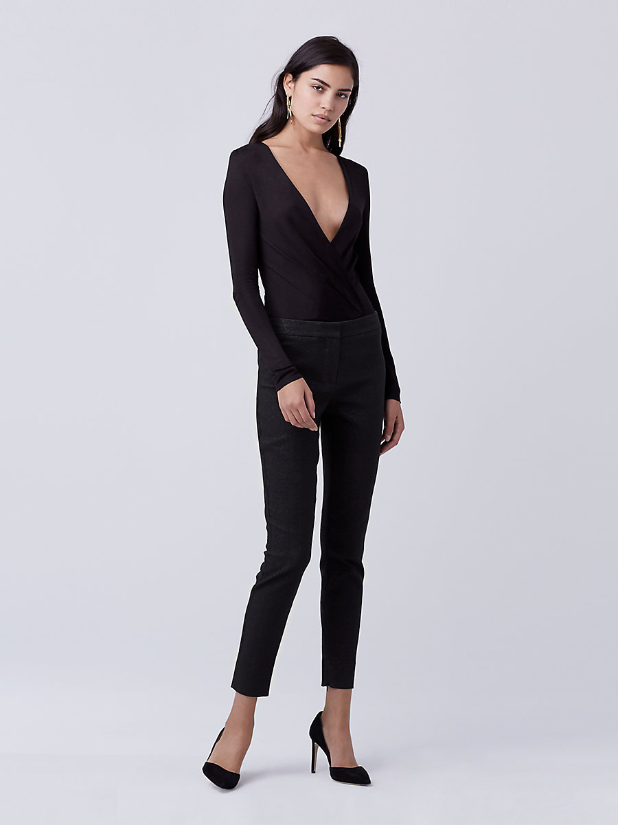 DVF Lala Long Sleeve Bodysuit in Black by DVF