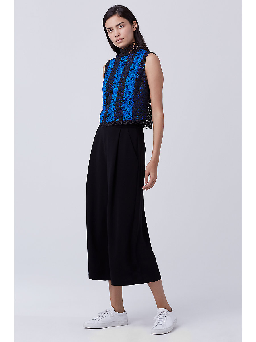 DVF Bonita Lace Top in Neptune Blue/ Black by DVF