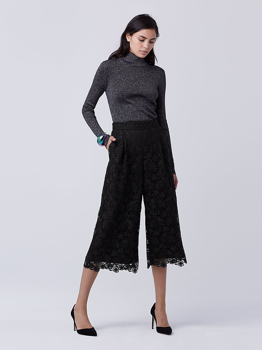 DVF Holly Lace Culotte in Black by DVF