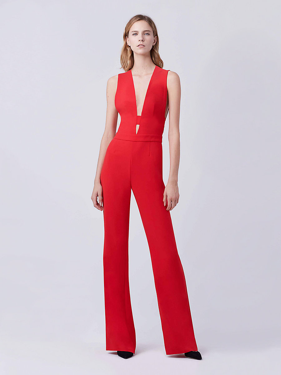 DVF Kyara Tux Jumpsuit in Scandal Red by DVF