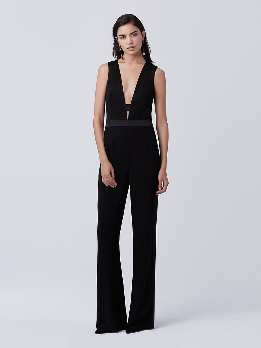 DVF Kyara Tux Jumpsuit in Black by DVF