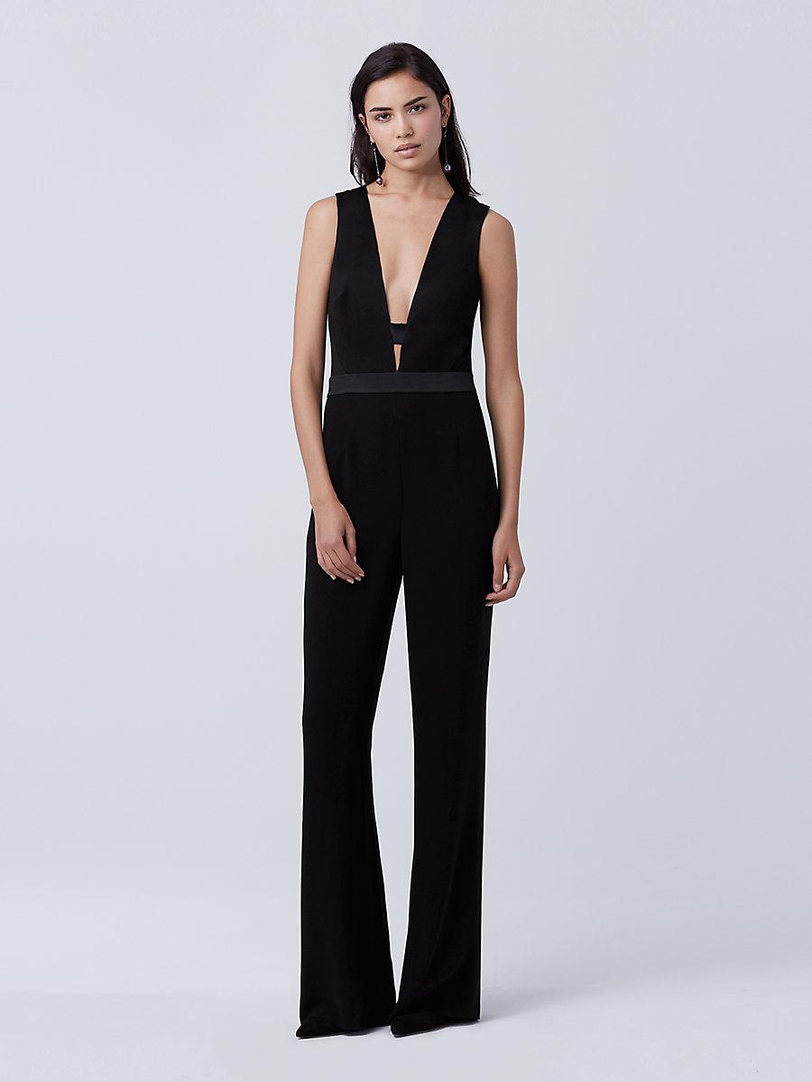 DVF Kyara Tux Jumpsuit in Black by DVF