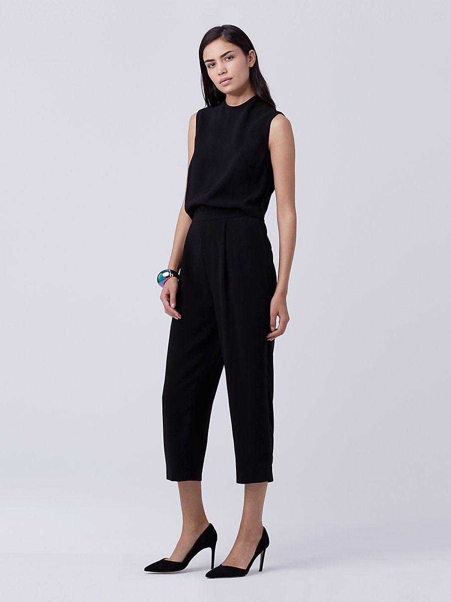 DVF Tali Jumpsuit in Black by DVF