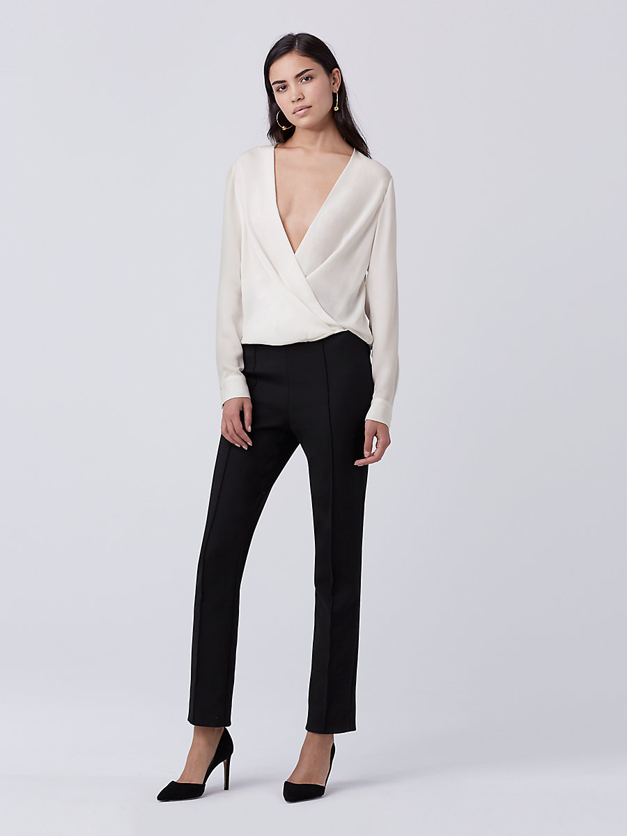 DVF Marci Silk Top in Ivory by DVF