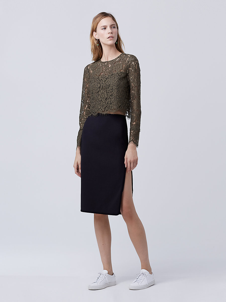 DVF Noemi Zip Pencil Skirt in Black/ Black by DVF