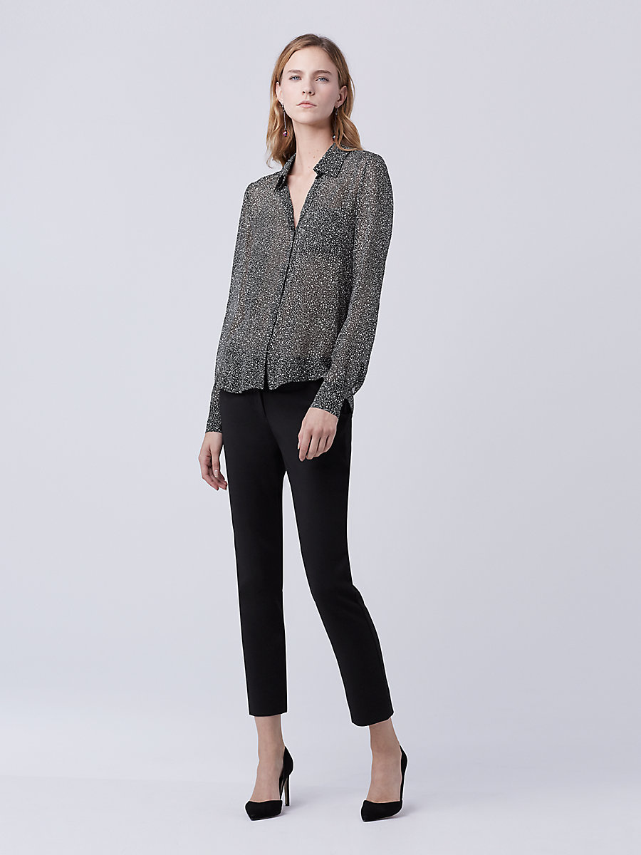 DVF Jodie Cropped Pant in Black by DVF