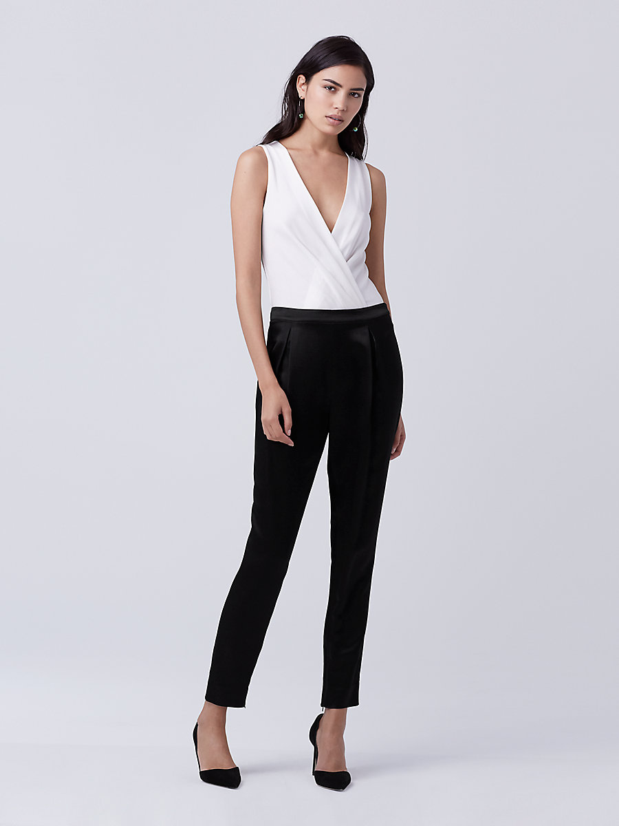 DVF Crosby Hammered Satin Pant in Black by DVF