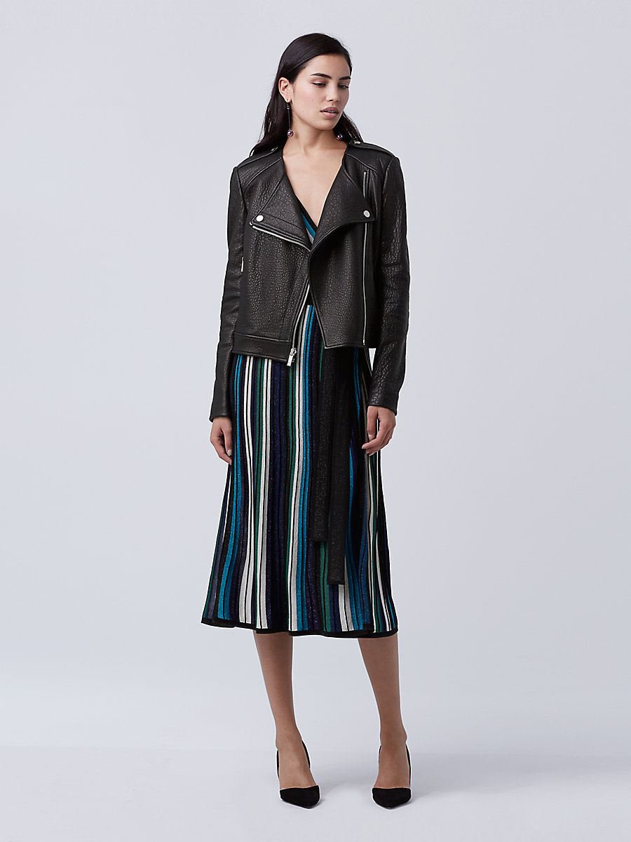 DVF Tadessa Leather Jacket in Black by DVF