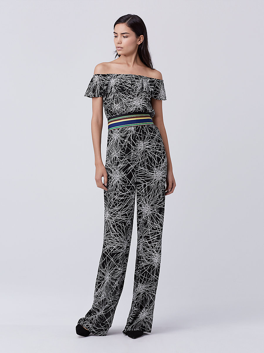 DVF Adele Off-Shoulder Jumpsuit in Light Beam Black by DVF