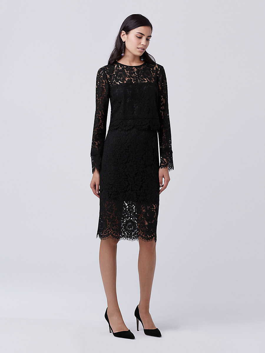 DVF Yeva Lace Top in Black by DVF