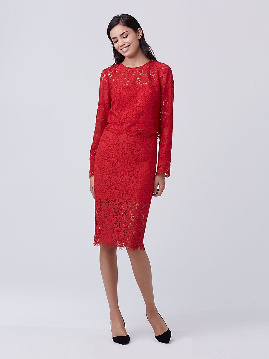 DVF Yeva Lace Top in Scandal Red by DVF