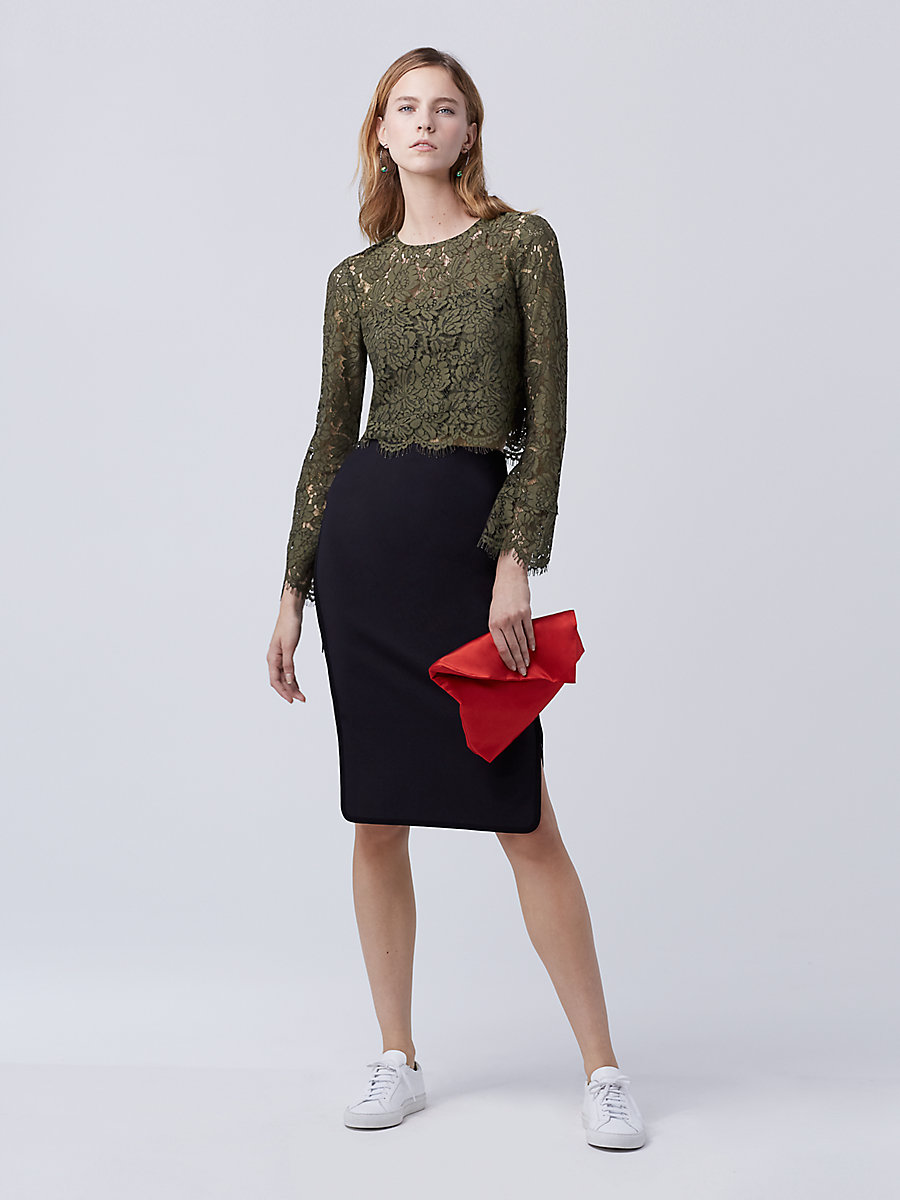 DVF Yeva Lace Top in Olive by DVF