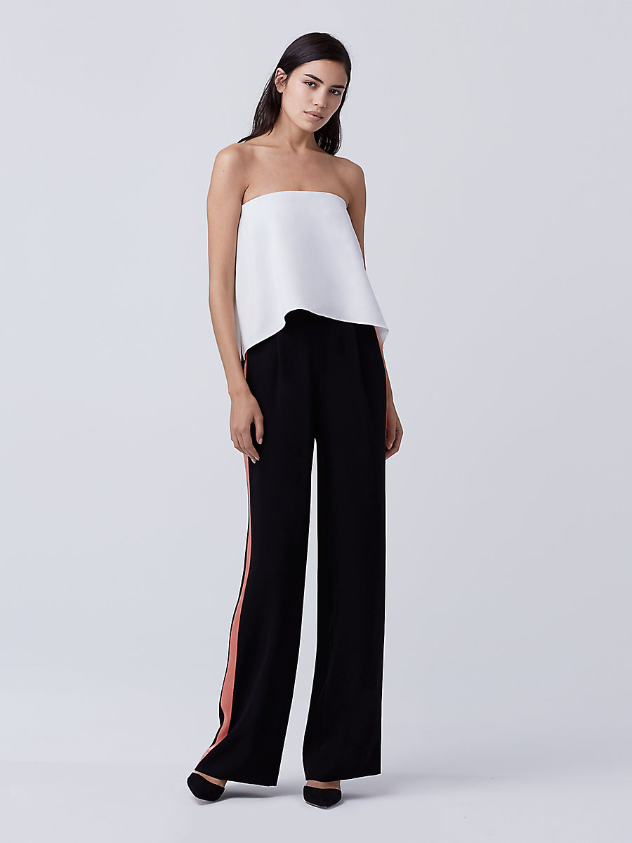 DVF Amare Jumpsuit in Ivory/ Black by DVF