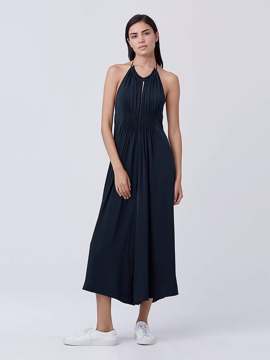 DVF Tatianna Silk Jumpsuit in Deep Night by DVF