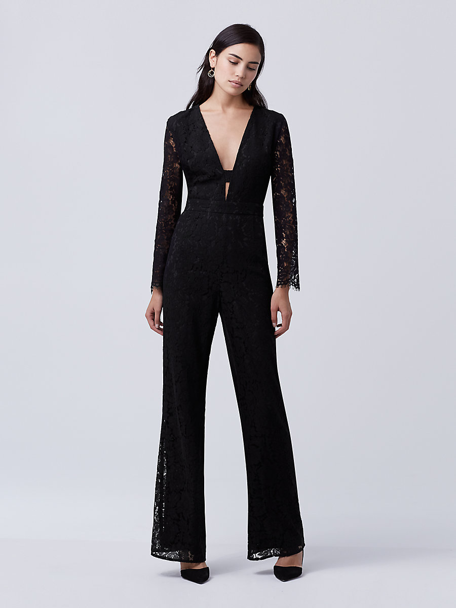 DVF Kyara Lace Jumpsuit in Black by DVF