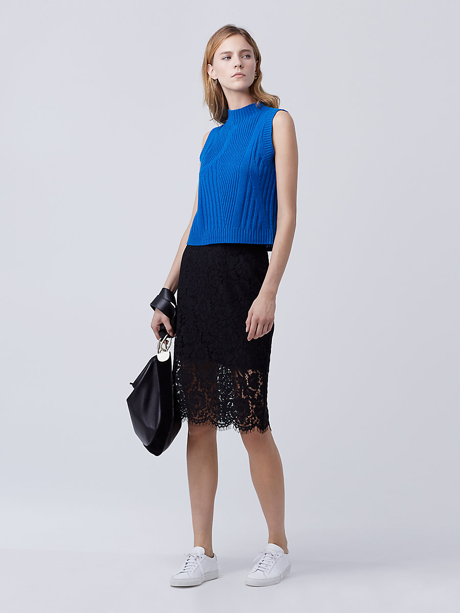 DVF Glimmer Lace Pencil Skirt in Black by DVF