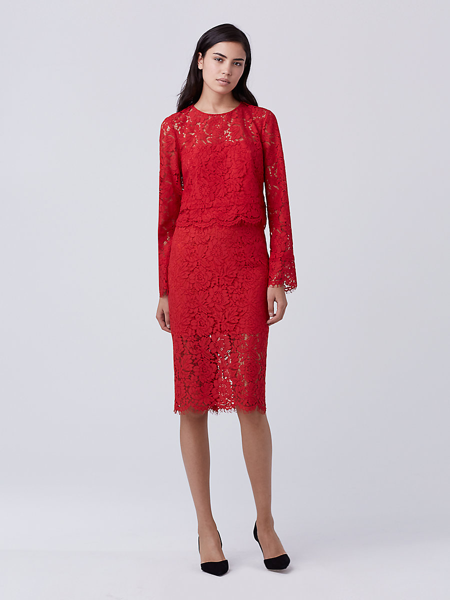 DVF Glimmer Lace Pencil Skirt in Scandal Red by DVF