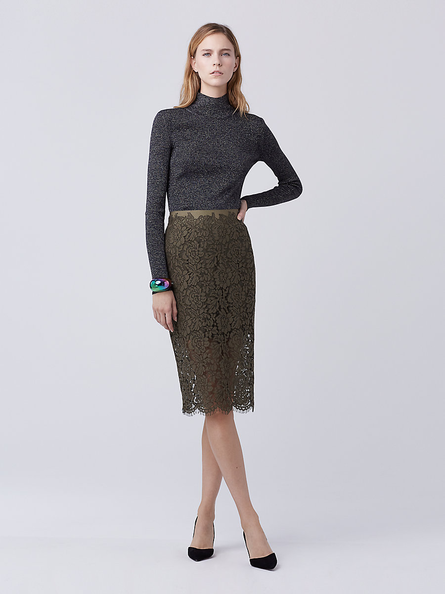 DVF Glimmer Lace Pencil Skirt in Olive by DVF