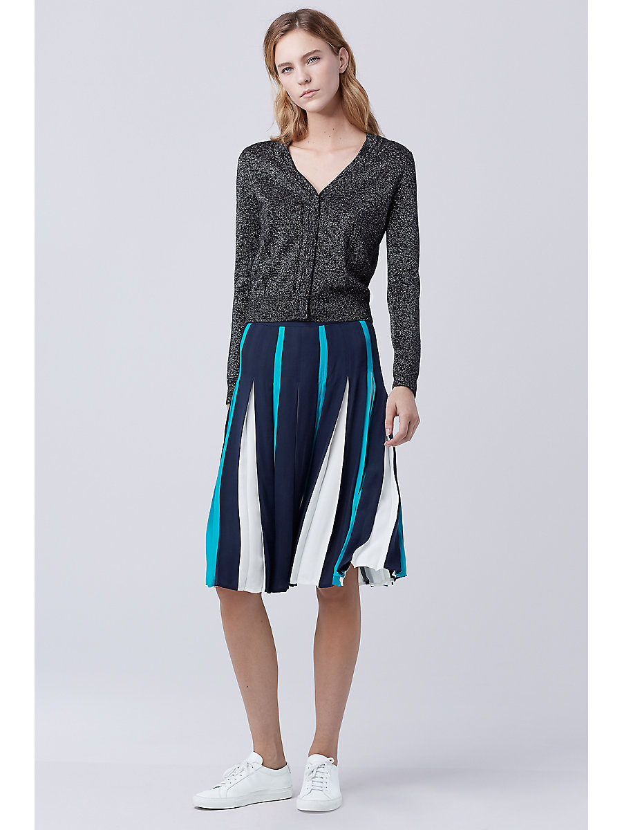 DVF Adelyn Metallic Knit Cardigan in Black/ Silver by DVF
