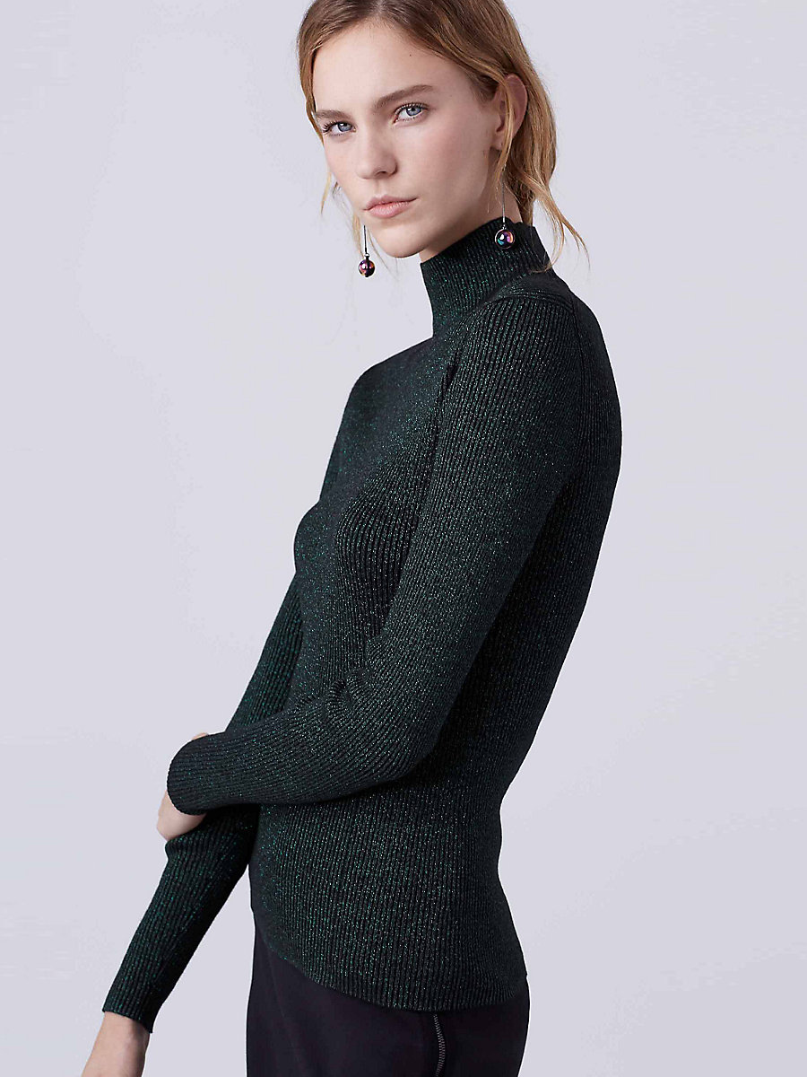 DVF Tess Metallic Knit Turtleneck in Black/green by DVF