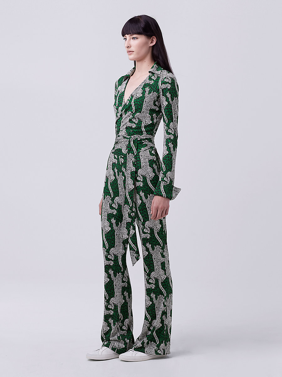 DVF Printed Wrap Jumpsuit in Climbing Leopard Green Envy by DVF