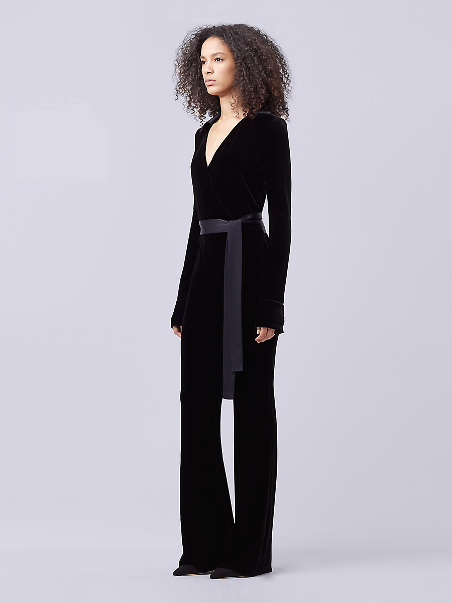 DVF Velvet Wrap Jumpsuit in Black by DVF