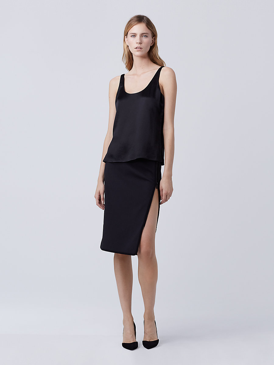 DVF Lyla Hammered Satin Top in Black by DVF
