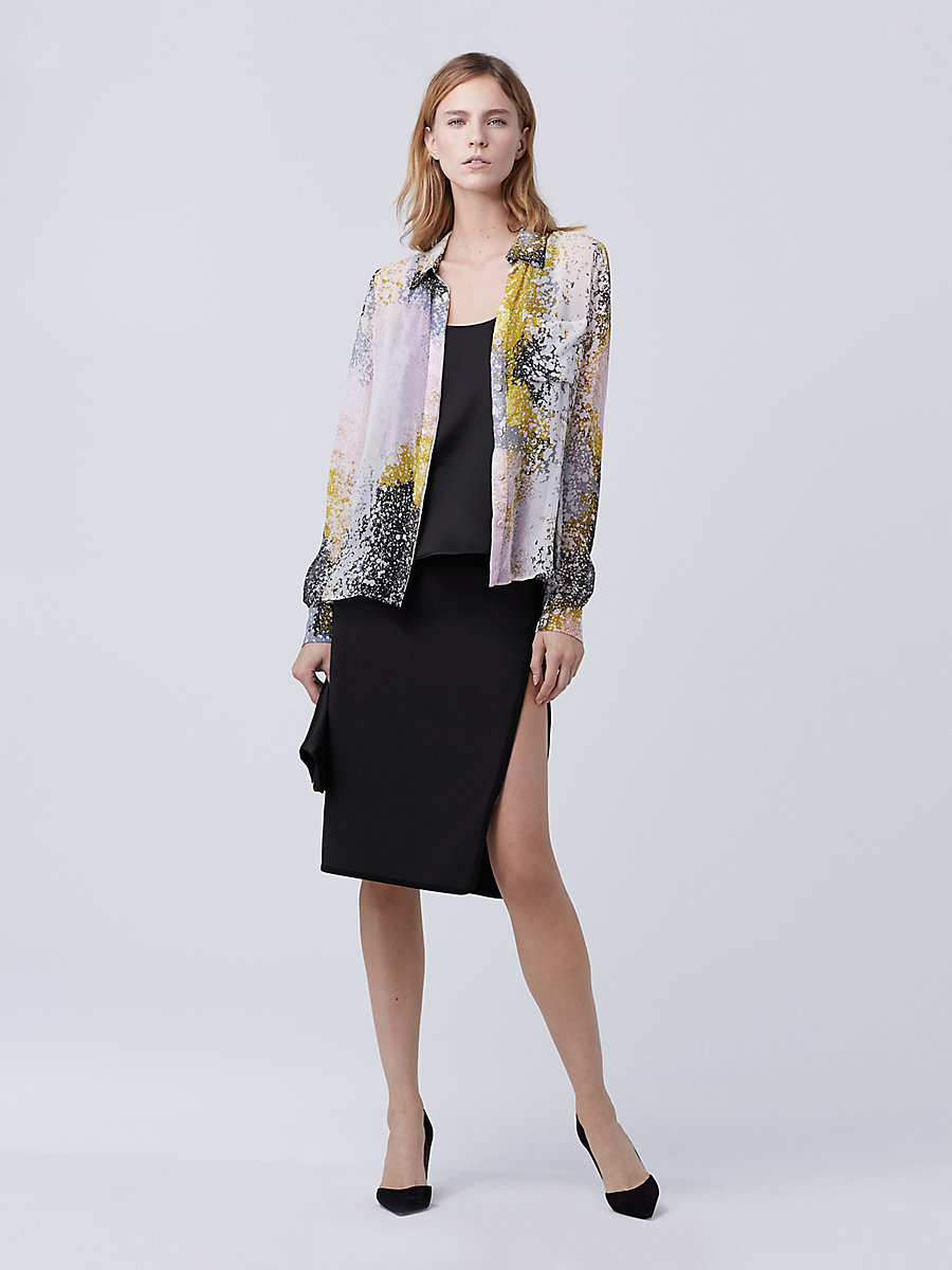 DVF Carter Silk Top in Stella Fresco Rock by DVF