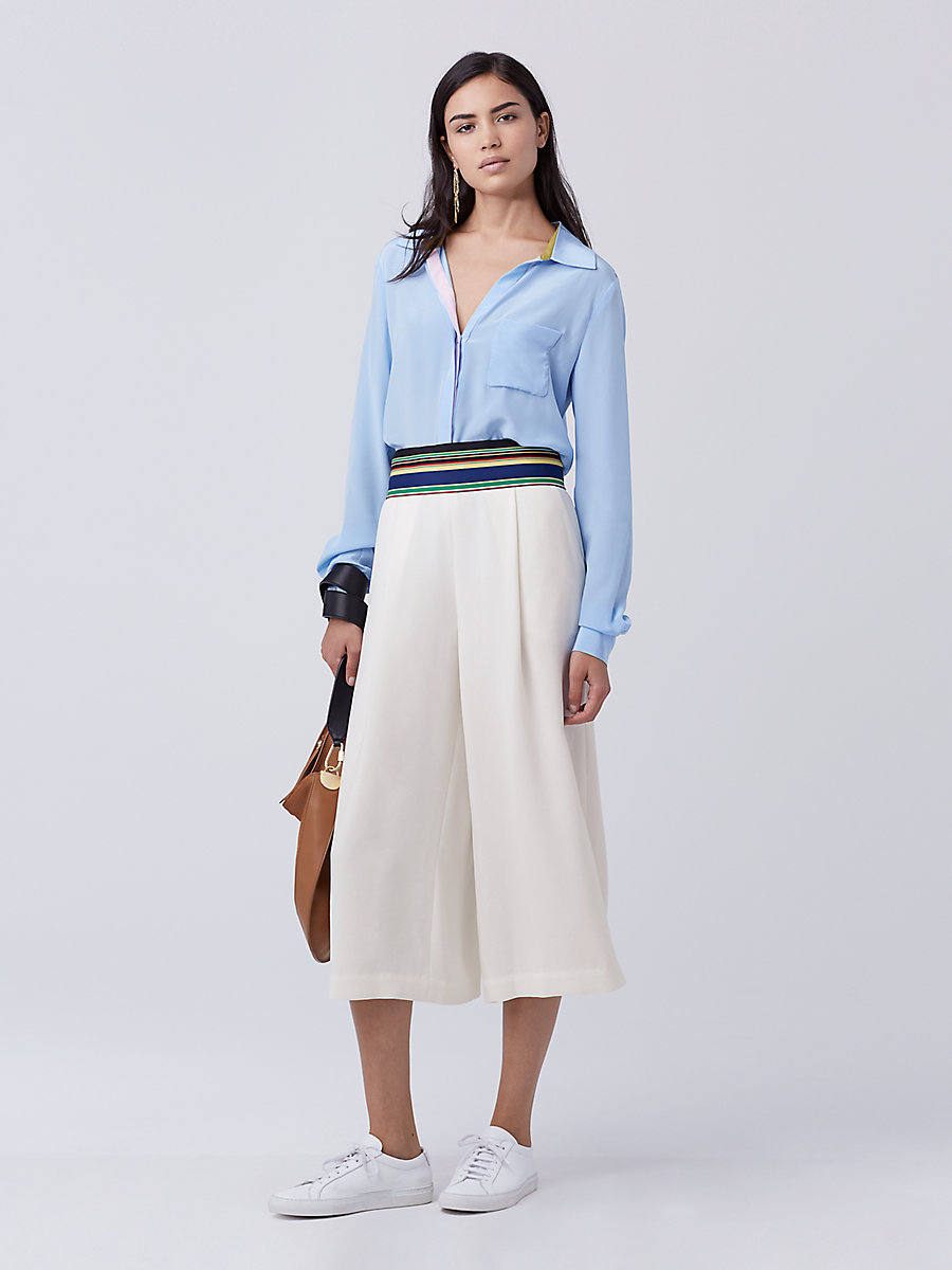 DVF Carter Silk Top in Cool Blue by DVF