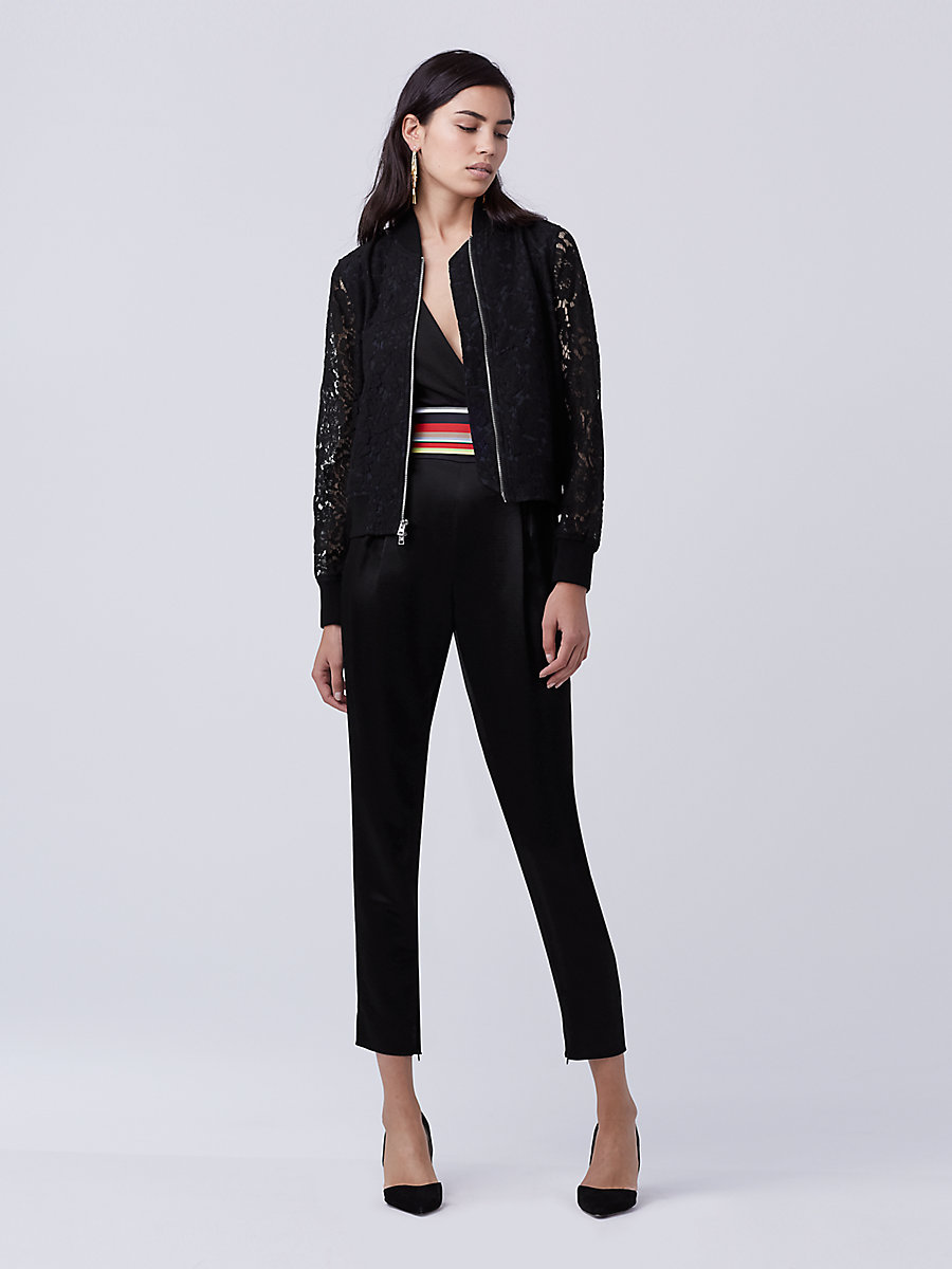 DVF Kennadie Lace Bomber Jacket in Black/deep Night by DVF