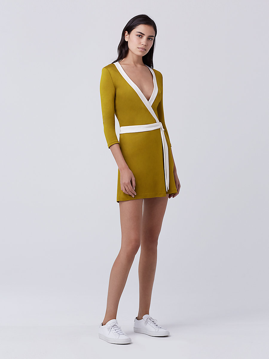 Celeste Two Banded Wrap Romper in Gold Patina/ivory by DVF