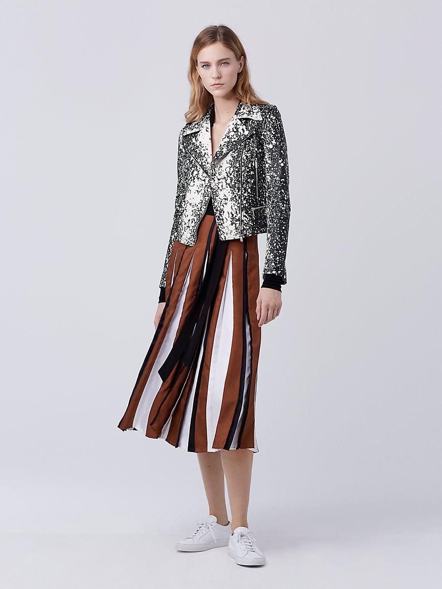 DVF Joneva Leather Jacket in Black/ White by DVF