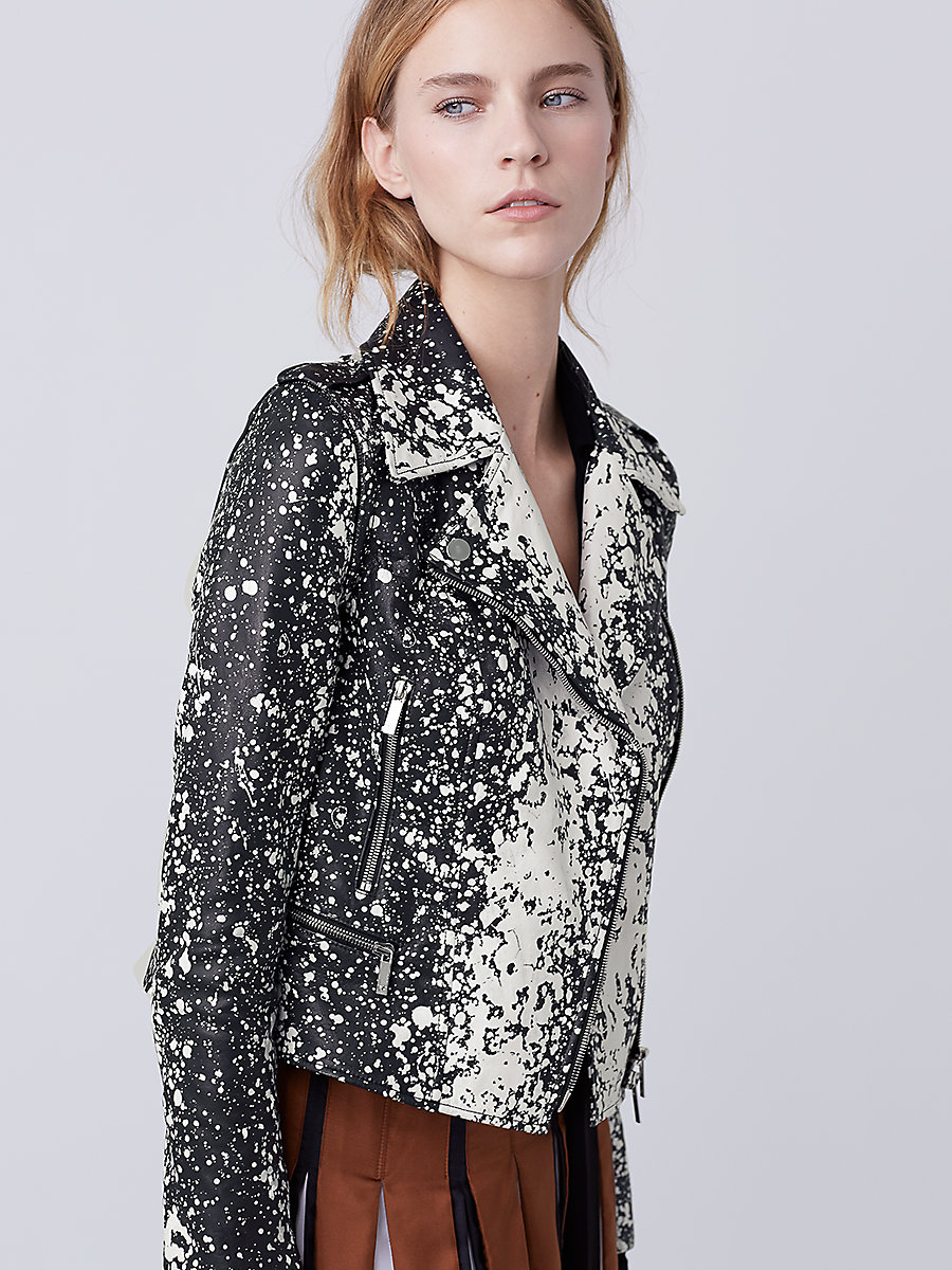 DVF Joneva Leather Jacket in Black/ White by DVF