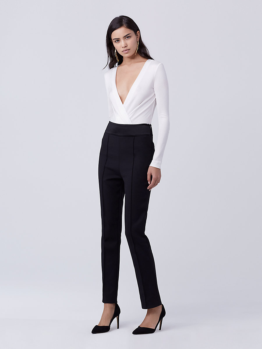 DVF Blysse Two High Waisted Pant in Black by DVF