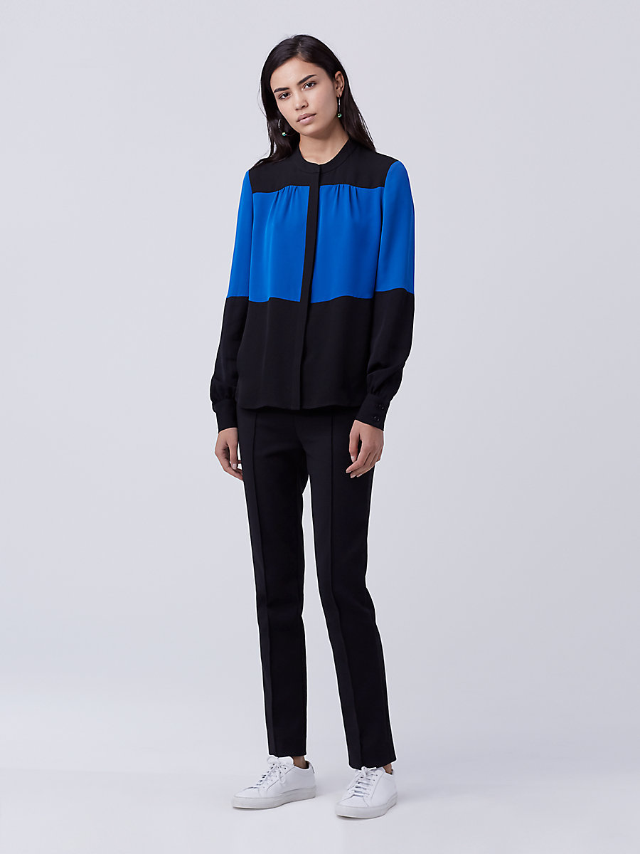 DVF Dillon Two Silk Top in Neptune Blue/ Black by DVF