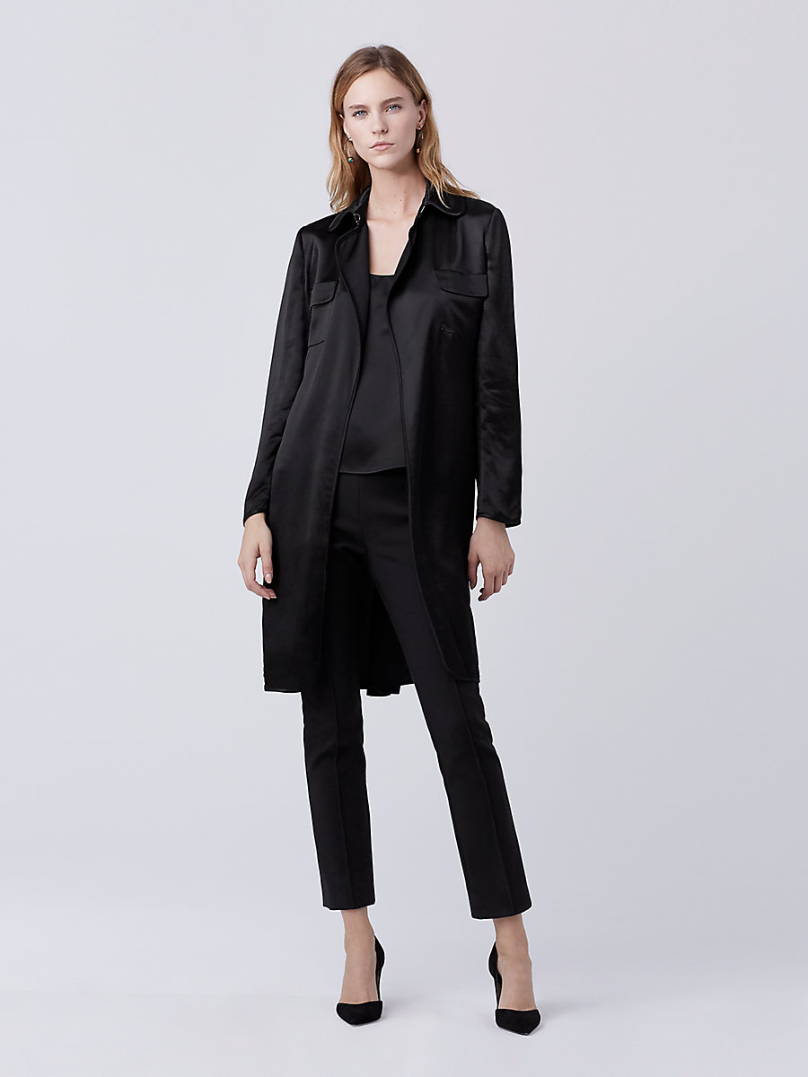 DVF Blaine Hammered Satin Utility Jacket in Black by DVF