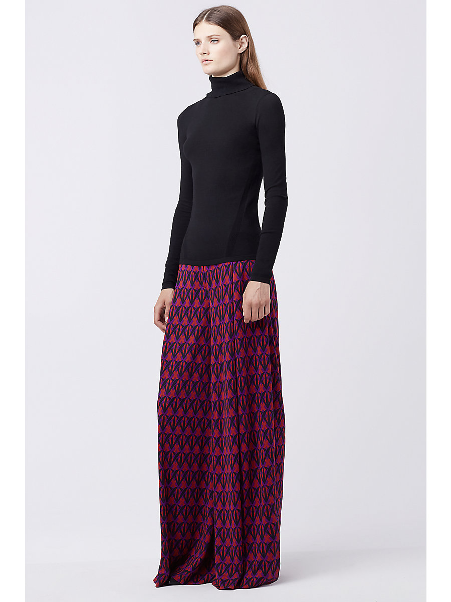 DVF STANTON WIDE LEG TROUSER in Diamond Shadow Rubiate by DVF