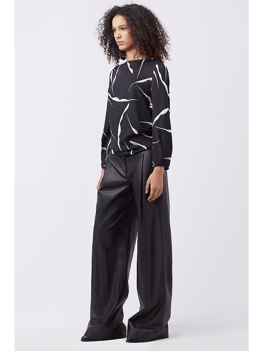 DVF STANTON WIDE LEG LEATHER TROUSER in Black by DVF