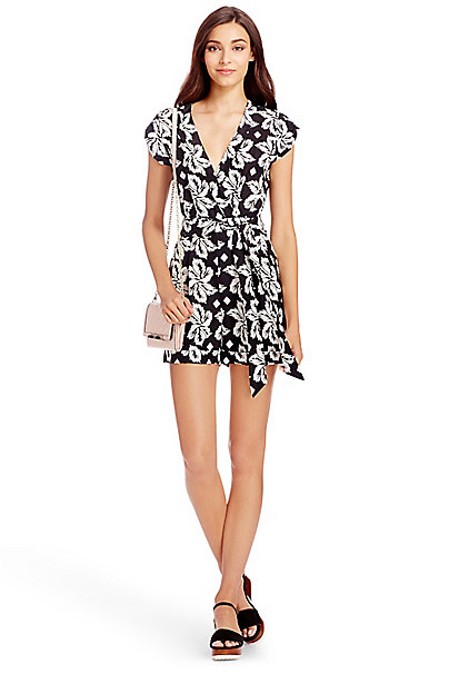 DVF Purdette Silk Playsuit in Giant Leaf Floral Black by DVF