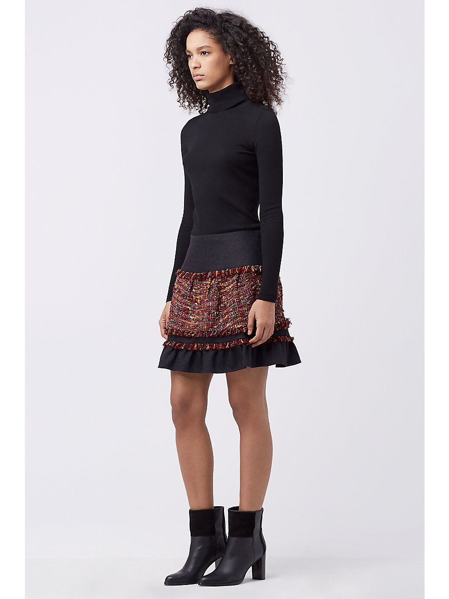 DVF KEELY TWEED SKIRT in Rubiate Multi by DVF