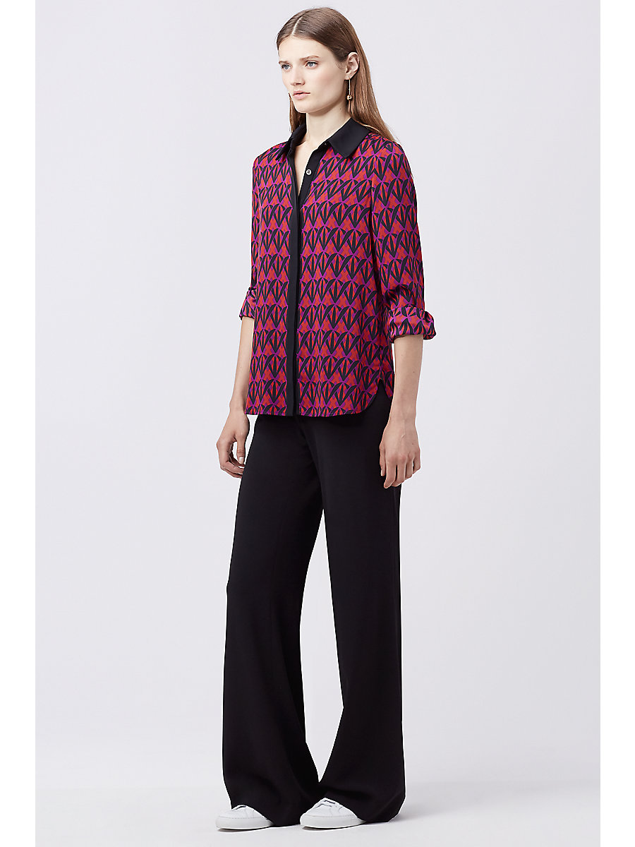 DVF ILYSSA TOP in Diamond Shadow Rubiate/black by DVF