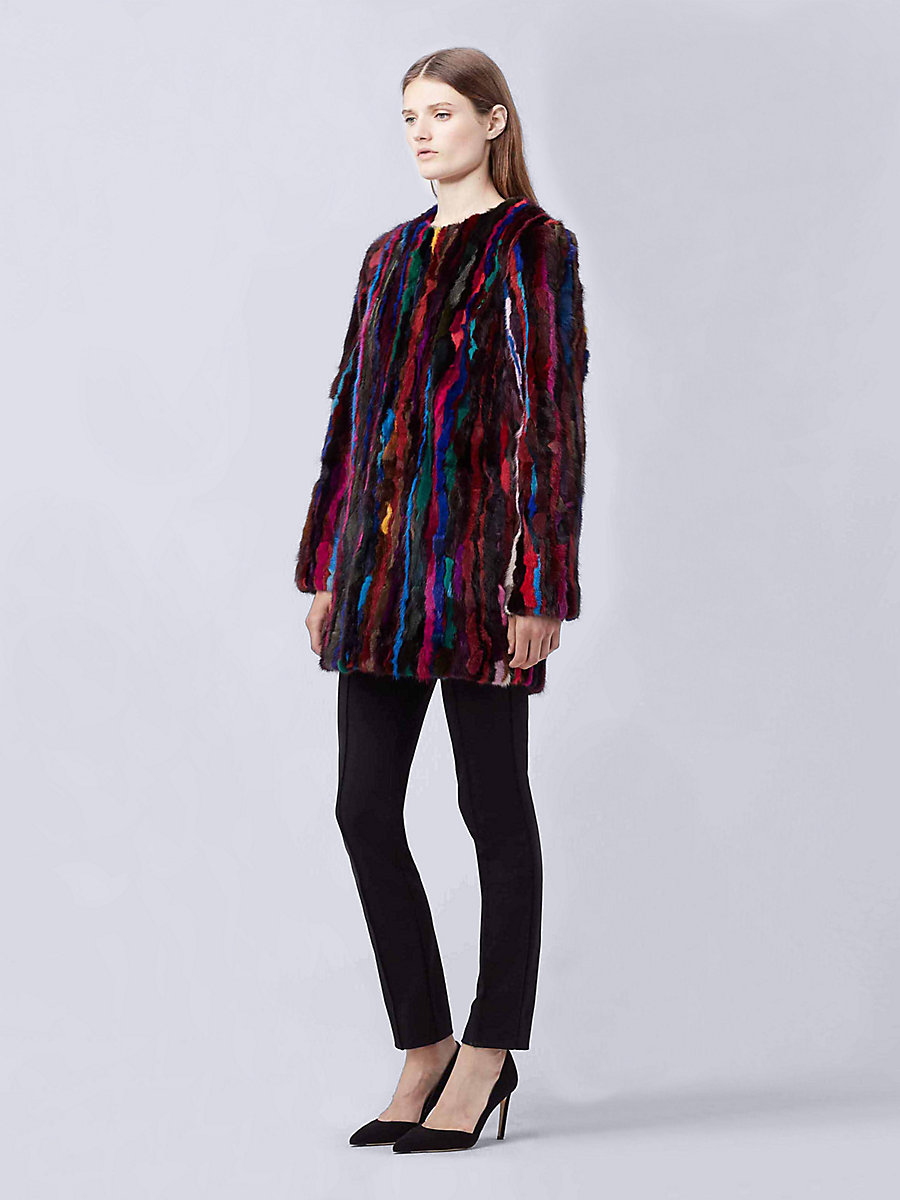 DVF FUR FINALE PIECED MINK COAT in Multi by DVF