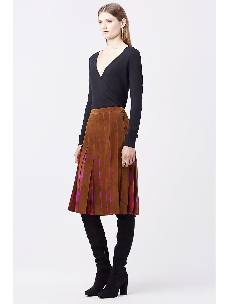DVF MELITA SUEDE SKIRT in Whiskey Brown/ Parry Petite A by DVF
