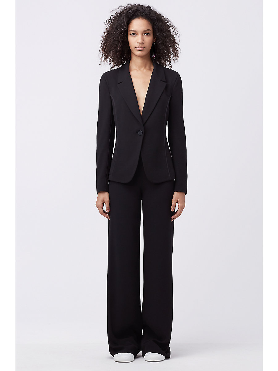 DVF Preston Wide Leg Trousers in Black by DVF