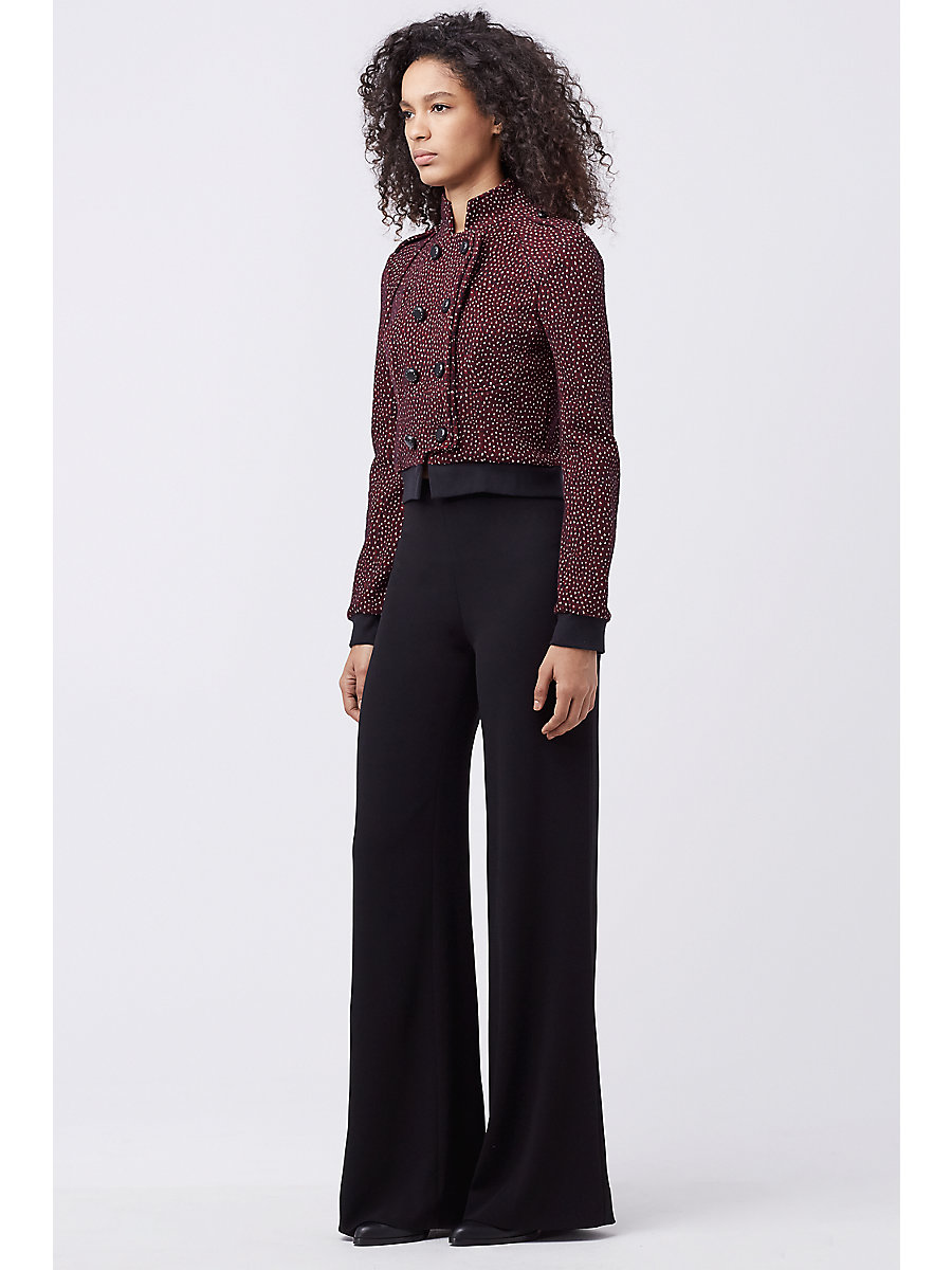DVF PAMELLA KNIT JACKET in Garnet/royal Navy/tan/black by DVF