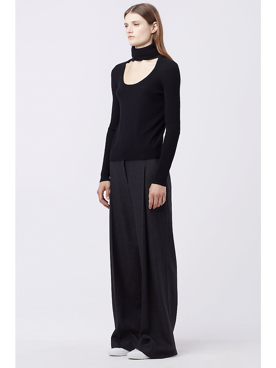 DVF GRACEY CUT-OUT TURTLENECK SWEATER in Black by DVF