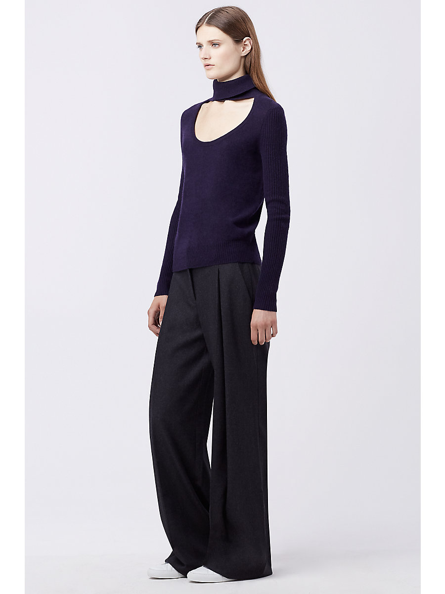 DVF GRACEY CUT-OUT TURTLENECK SWEATER in Royal Navy by DVF