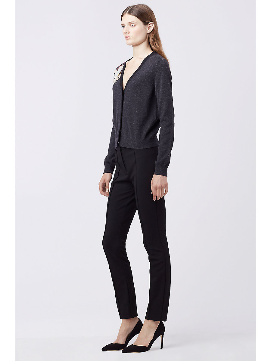 DVF TEMIRA EMBELLISHED CARDIGAN in Charcoal/black by DVF