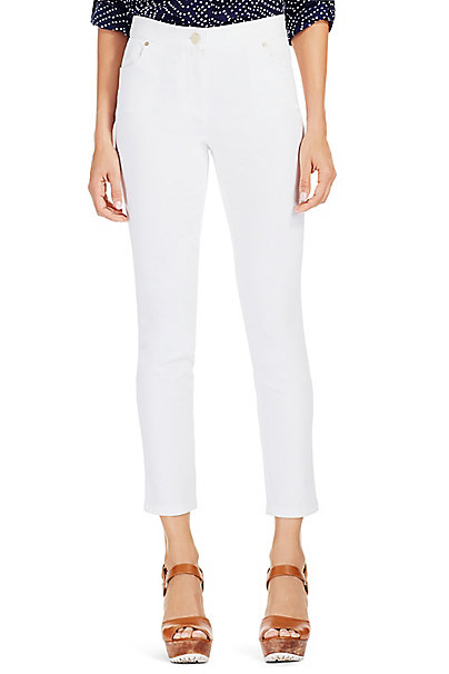 DVF Gali Skinny Denim Pant in White by DVF