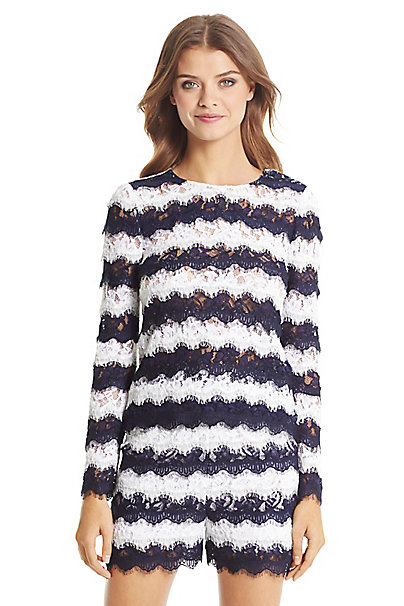 DVF Darielle Striped Lace Top in Midnight/ White by DVF